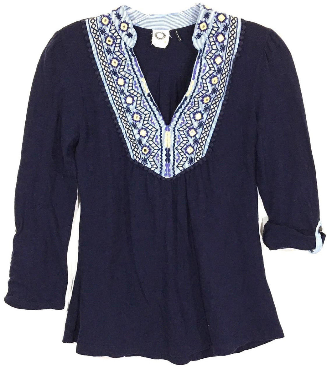 Anthropologie Akemi + Kin Blue Shirt Top Mirror Embroidered Neck Boho Womens XS - Preowned - FunkyCrap Boutique