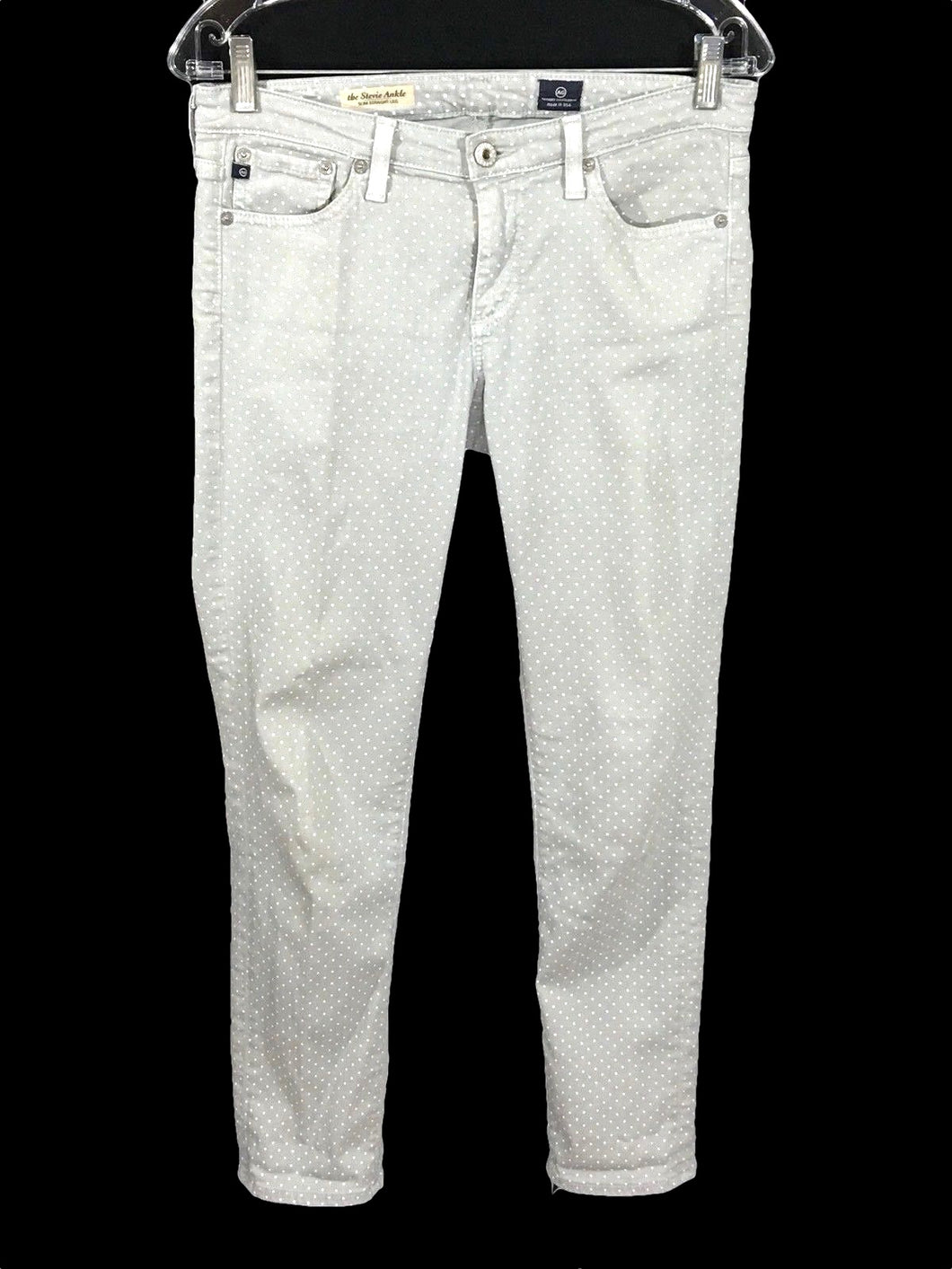 AG Adriano Goldschmied The Stevie Ankle Dots Slim Straight Leg Jeans Womens 27 - Preowned - FunkyCrap Boutique