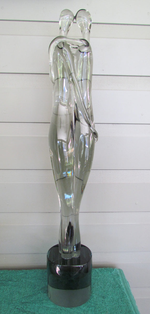 Pino Signoretto Murano Glass Sculpture Of Lovers Embracing 73.5cm Tall From The Markus Gallery