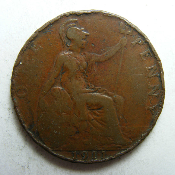 England GB 1911 Penny King George V Coin