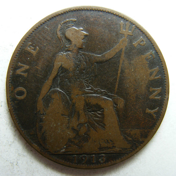 England GB 1913 Penny King George V Coin