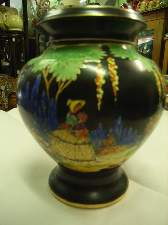 Falconware by Thomas Lawrence Vase Hand painted with a Crinoline Scene