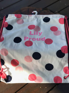 Drawstring Library Bag - Dots
