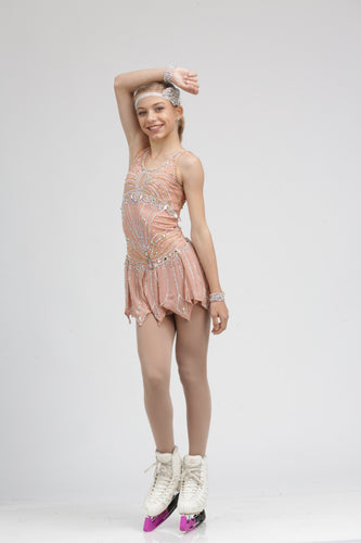 Pink Flapper-inspired Figure Skating Dress Ice skating Dress by Tania Bass