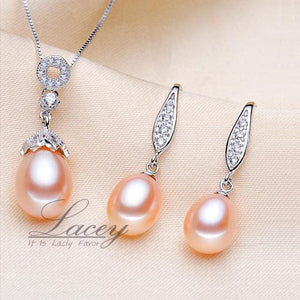 LACEY Genuine Natural Freshwater Pearl Jewelry Set with Pendant Necklace and Earrings Jewelry Set
