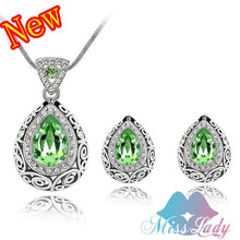 MISSLADY Women's Fashion Rhinestone Colorful Crystal Vintage Style Water Drop Jewelry Set