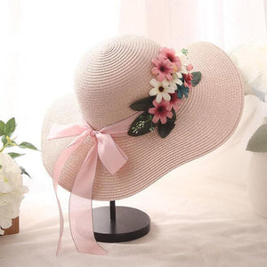 OZYC Women's Fashion Spring Summer Flower Straw Hat Exquisite Floral Straw Dressy Outdoor Wedding Vacation Beach Hat Floral Bow Sun Hat for Women