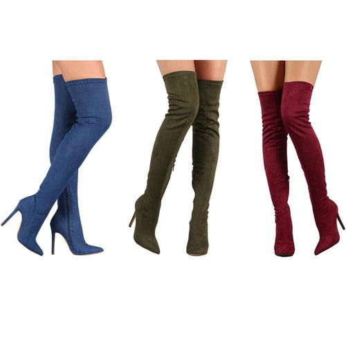 TIMETANG Women's Fashion Premium Quality Elastic Velvet Suede Thigh High Dress Boots