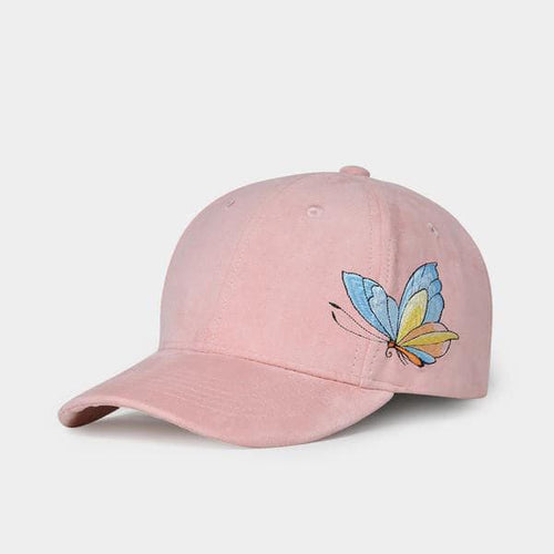 NUZADA Women's Fashion Stylish Pink Blush Butterfly Embroidery Denim Fabric Baseball Cap