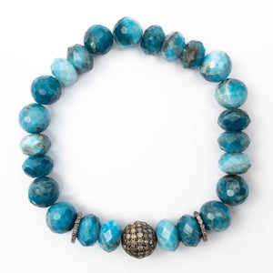 Diamond Focal Bead & Mixed Shape Faceted Apatite Bracelet