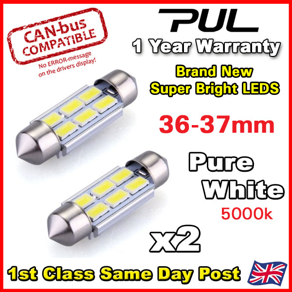 BMW Mini Cooper R50 R52 R53 License Number Plate 3 LED Light Bulbs 36mm Pure White