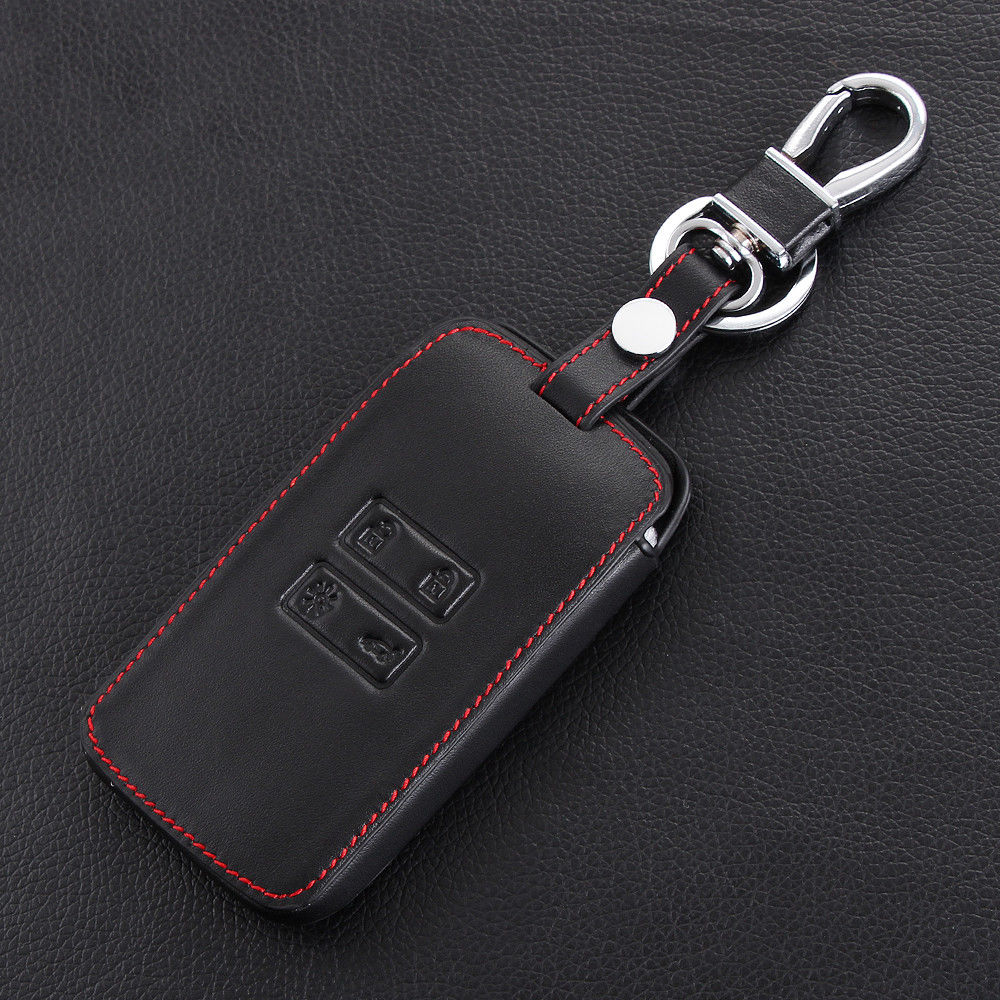 Car Black Leather Smart Key Cover Case Protector For Renault Koleos 2016 2017 UK
