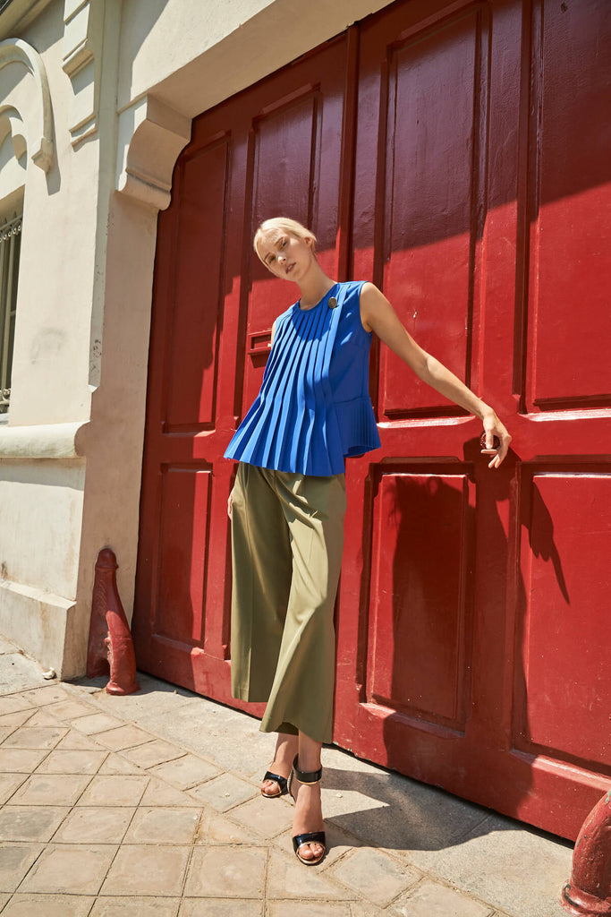Emma Pleated Top in Cobalt Blue