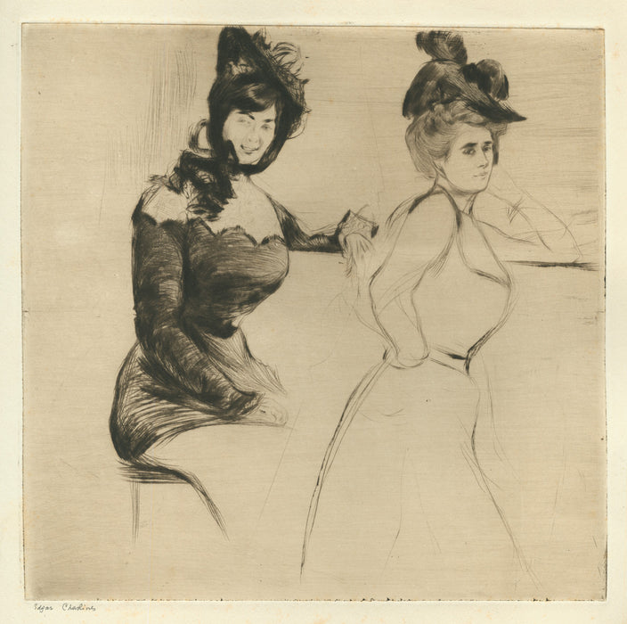 Edgar Chahine - Contraste - two women at bar - Tabanelli 25 - drypoint