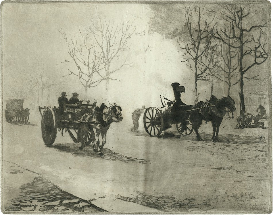 Edgar Chahine - Quartier du Combat - carriages and street - Tabanelli 153 - etching