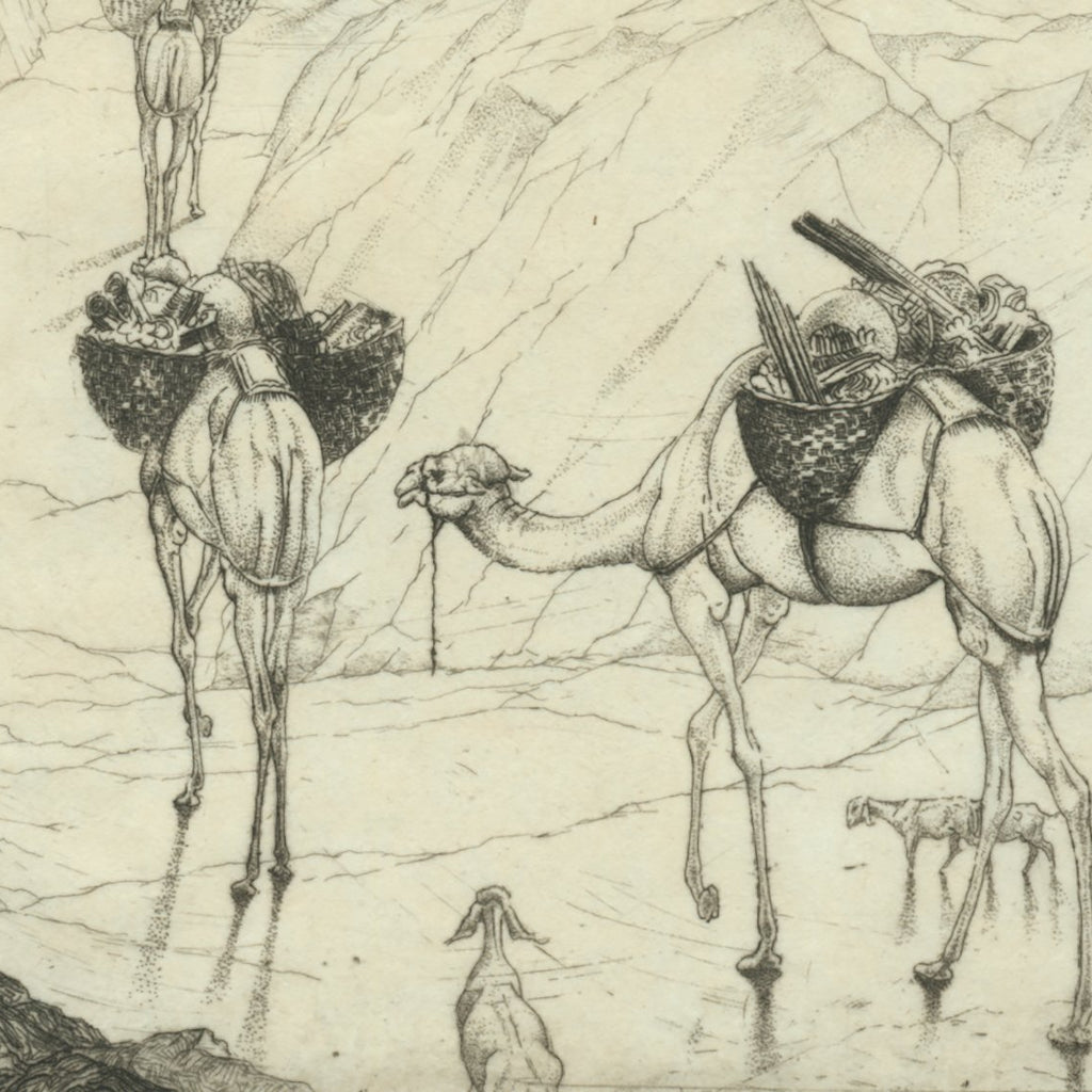 Edward Detmold - To The Promised Land - camels - etching