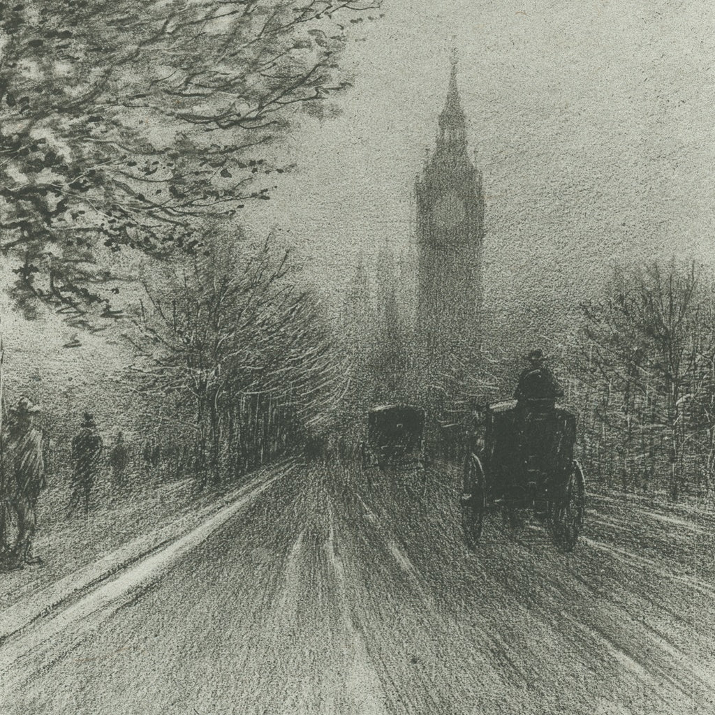 Felix Buhot - The Embankment Westminster - street scene - lithograph