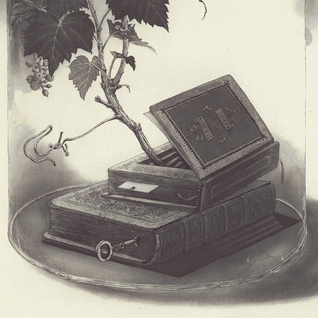 Fumiko Takeda - 武田 史子 - Greenhouse library - 温室の図書館  - intaglio etching aquatint - bell jar books key ivy