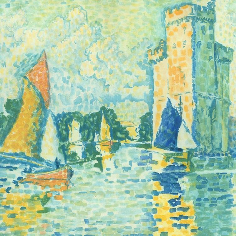 Jacques_Villon_-_Duchamp_-_after_Paul_Signac_-_Le_Port_de_La_Rochelle_- color aquatint - etching Ginestet & Pouillon E644_detail