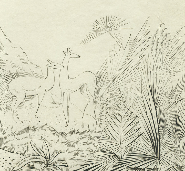 Joseph Hecht - Tigres et Biches -  Tigers and Deer - drypoint engraving