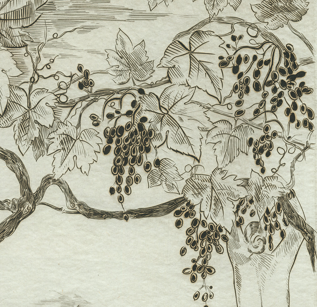 Joseph Hecht - Vendange - Grape Harvest - nude - wine - pure line engraving