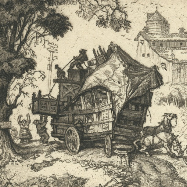 Reynold Weidenaar - unloading the dowry - Library of Congress - Miniature Print Society - Alexandria VA - horse cart