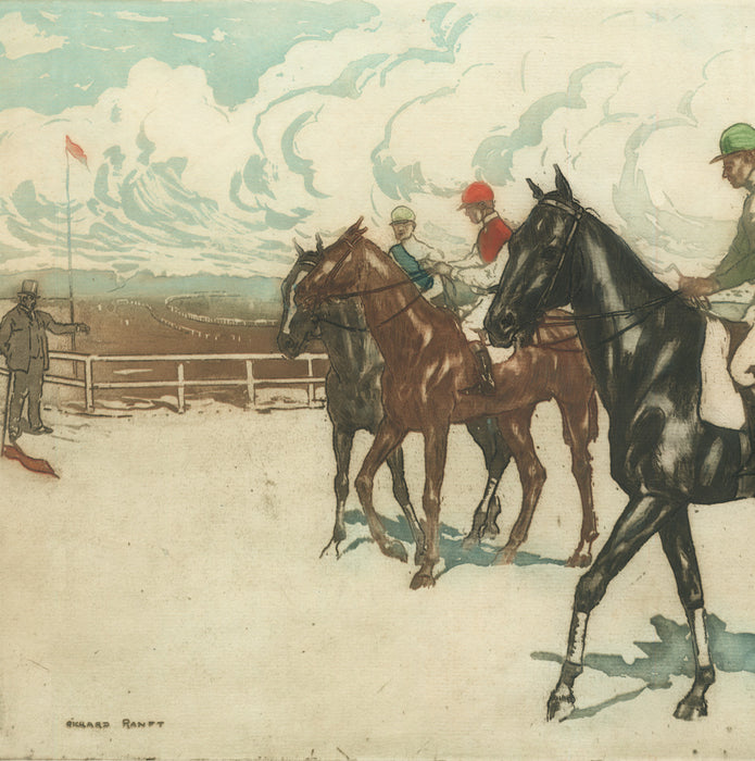 Color aquatint and etching - by RANFT, Richard - titled: The Start of the Race