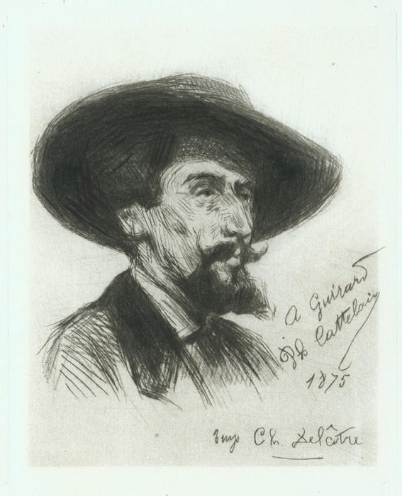 Drypoint and roulette - by CATTELAIN, Philippe Auguste - titled: Portait of Henri Guerard