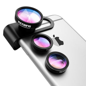 3-in-1 Lens Kit-180 Degree Fisheye Lens+0.65X Wide Angle+10X Macro Lens - Phonetographr