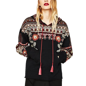 Hooded Embroidered Cotton Sweatshirt
