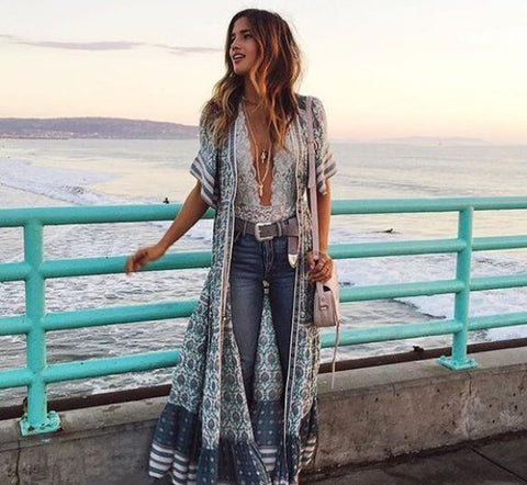 Rayon Long Beach Kimono Dress