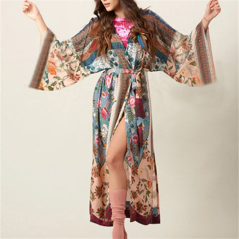 Long Cotton Beach Multicolor Printed Kimono