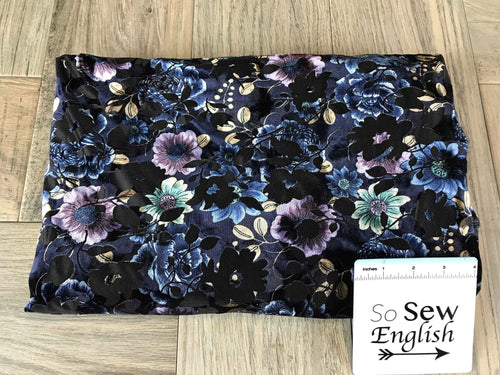 Purple/Blue Burnout Floral - STRETCH VELVET - By the yard