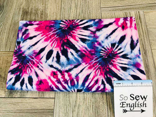 Berry SPIRAL TIE DYE - Double Brushed Poly Spandex -By The Yard