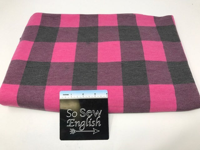 Fuchsia/black FT PLAID  -Poly Rayon Spandex  French Terry - By the yard