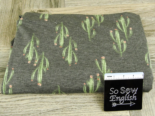 Soft black/olive CACTUS -Poly Rayon Spandex French Terry - By the yard