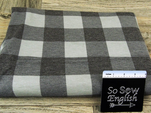 Grey/black FT PLAID  -Poly Rayon Spandex  French Terry - By the yard