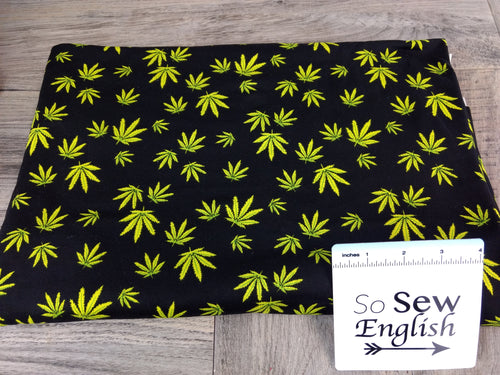 Black CANNABIS - Double Brushed Poly Spandex -By The Yard