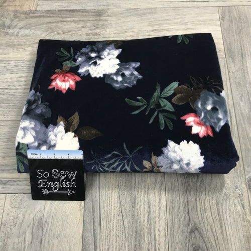 Navy/Slate Floral - VELVET - By the yard
