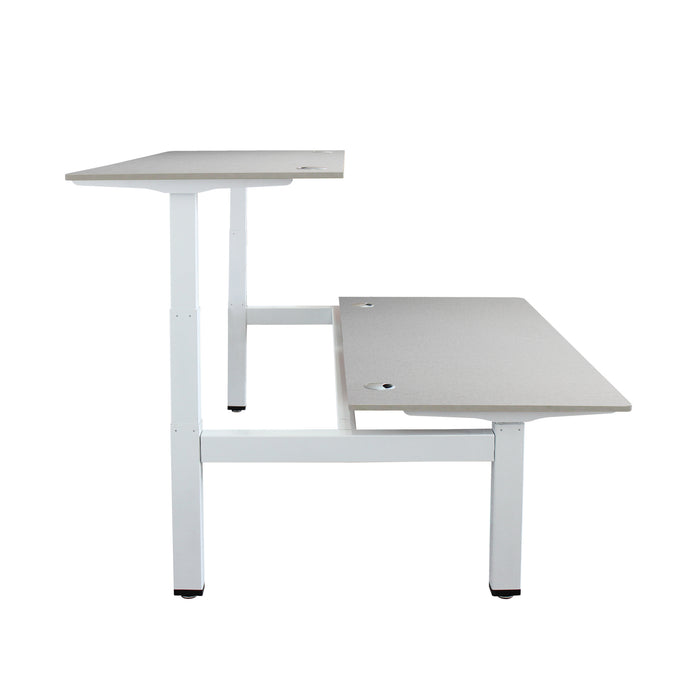 A3-67 Ergonomic 67-in 3 Memory Buttons LED Electric Automatic Height Adjustable Sit to Stand Work Office Spilt Top Double Desk with White Legs