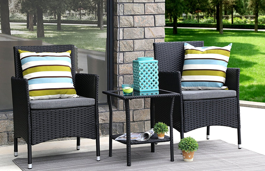 Baner Garden 3 Pieces Outdoor Furniture Complete Patio Cushion PE Wicker Rattan Garden Dining Set, Full, Black (Q16)-Long Mountains