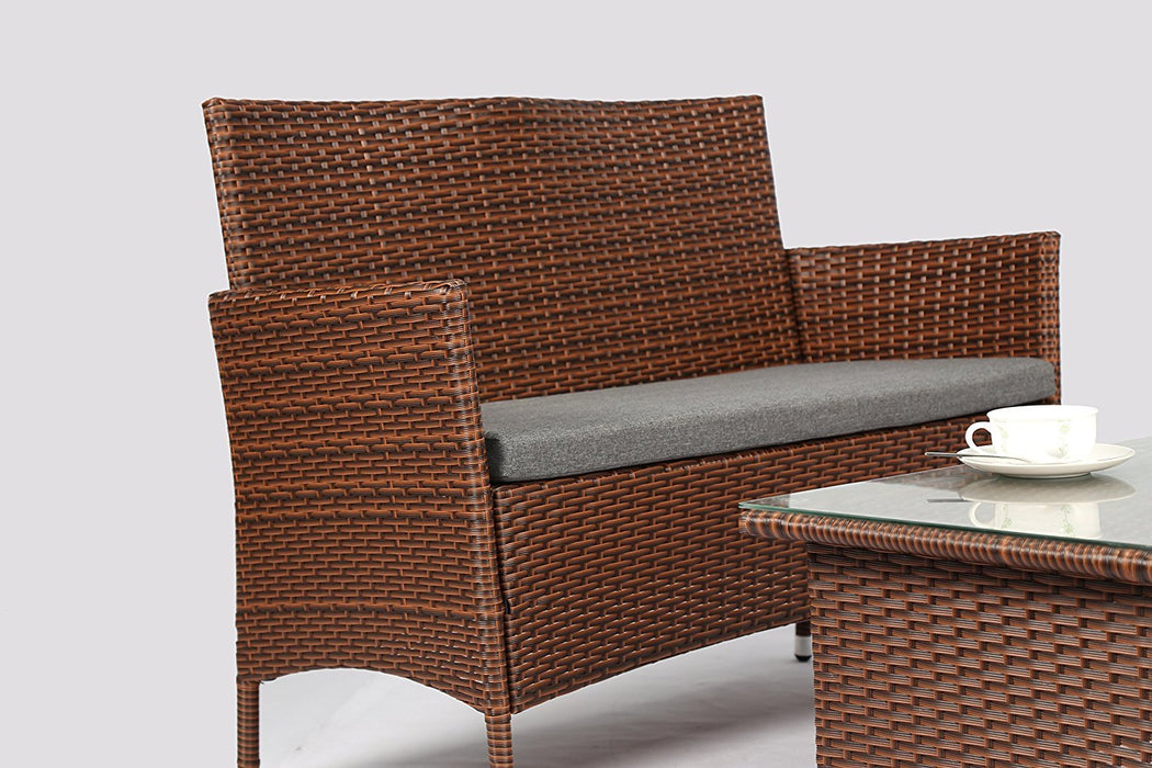 Baner Garden 8 Pieces Outdoor Furniture Complete Patio Wicker Rattan Garden Set, Brown(N68-BR-2)-Long Mountains