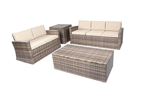Baner Garden A161 4 Piece Outdoor Full Sofa Coffee and Side Table Rattan Pool Patio Garden Set with Cushions, Mixed Gray-Long Mountains