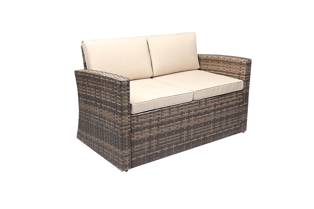 Baner Garden A163 5 Piece Outdoor Full Sofa Coffee and Side Table Rattan Pool Patio Garden Set with Cushions, Mixed Gray-Long Mountains