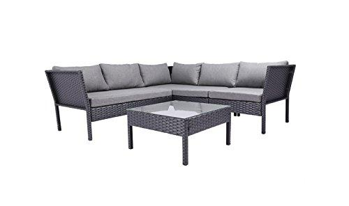 Baner Garden K15 4 Piece Outdoor Furniture Complete Patio Cushion Wicker Rattan Garden Set, Full, Black-Long Mountains
