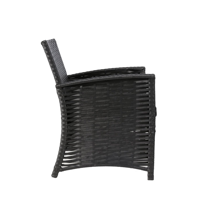 Baner Garden N82 4 Piece Outdoor Furniture Complete Patio Cushion Wicker Rattan Garden Set, Full, Black-Long Mountains