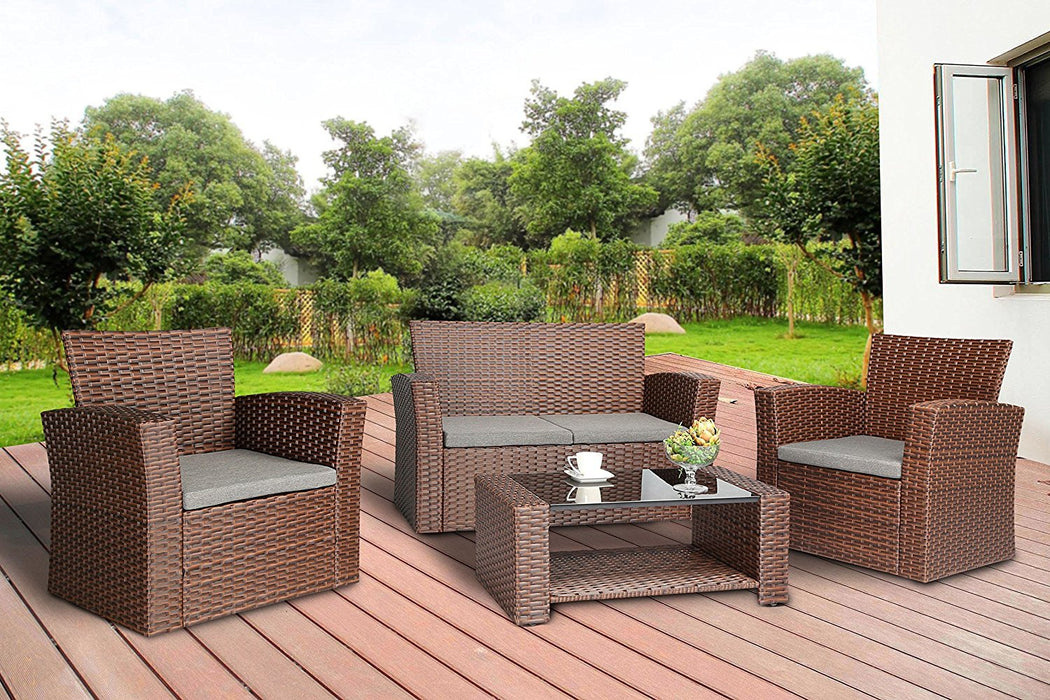 Baner Garden (N87-BR) 4 Pieces Conversational Outdoor Furniture Complete Patio Cushion Wicker Rattan Garden Set, Brown-Long Mountains
