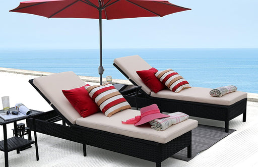 Baner Garden X15 Modern Outdoor Pool Patio Furniture Adjustable Chaise Lounge Chair with Cushions, Full-Long Mountains