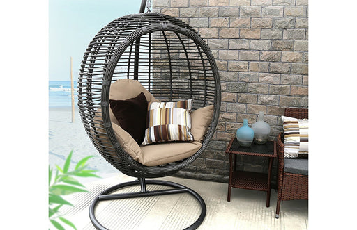 Baner Garden X19 Oval Egg Hanging Patio Lounge Chair Chaise Porch Swing Hammock Single Seat Stand Wicker with Cushion, Full, Black-Long Mountains