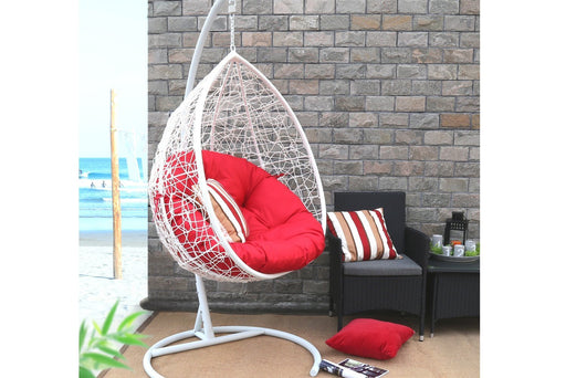 Baner Garden X35 Oval Egg Hanging Patio Lounge Chair Porch Swing Hammock Single Seat with Red Cushion, White-Long Mountains